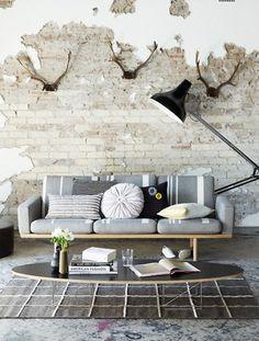 grey sofa, antlers, studio floor lamp