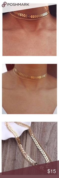 🆕2 LAYER CHEVRON &CHAIN GOLD CHOKER 🆕2 LAYER CHEVRON &CHAIN GOLD CHOKER Beautiful and trendy gold choker that's brand new! Material- Zinc Alloy golden threads Jewelry Necklaces