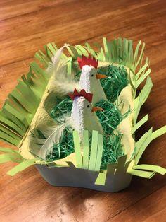 An Easter nest from a lütt egg box. - Basteln mit Kids - An Easter nest from a lütt egg box. Easter Activities, Preschool Crafts, Party Activities, Easter Art, Easter Eggs, Easter Crafts For Kids, Diy For Kids, Diy And Crafts, Paper Crafts