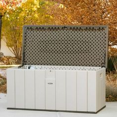 This Outdoor Storage Box will make a great addition to your deck, pool, patio or garden. The durable 150 Gallon container has UV-Protected Panels and lockable lid (lock not included) - Will Not Fade, Crack, or Peel.