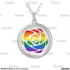 Rainbow Rose Silver Plated Necklace #flower #rose #rainbow #love #romance