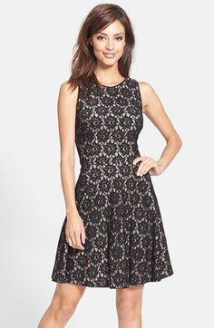Nicole Miller Lace Fit & Flare Dress available at #Nordstrom