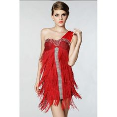 Red Sexy Tassel One Shoulder Latin Tango Salsa Clubwear Fringe Dance Dress W1308