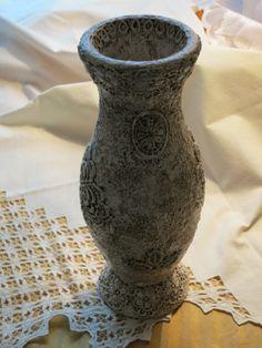 """Деревянная вазочка в технике """"Сицилийское кружево"""""""