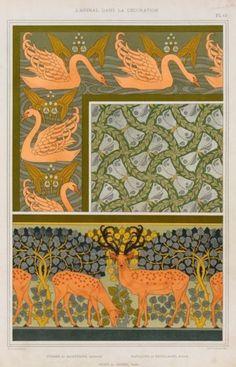 Cygnes et sagittaire, bordure. Pappillons et feuillages, étoffe. Cerfs et biches, frise. Verneuil, M. P. (Maurice Pillard),1897. From L'animal dans la décoration.