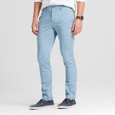 Men's Slim Fit Stretch Chino Pants Blue 30X32 - Merona
