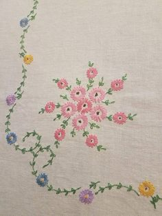 Floral embroidery antique vintage linen tablecloth