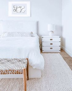 | White and Crispy monochrome color palette with some natural elements for warmth 🤍. Looking to refresh an space and want access to trade… Monochrome Color, Palette, Space, Natural, Bed, Furniture, Home Decor, Floor Space, Decoration Home