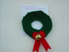 Jingle Bell Wreath Felt Brooch by michellesstitches on Etsy