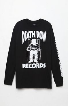 Rep the best of the best in rap and hip hop music with help from the PacSun Death Row Records Long Sleeve T-Shirt. This iconic tee has a crew neck, long sleeves, and bold Death Row Records graphics on the front and sleeve. Solid crew neck tee Death Row Records graphics on front and sleeve Long sleeves with ribbed cuffs Machine washable