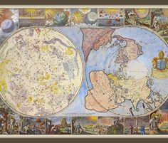 Heavens and Earth World Map, Yard fabric by svester on Spoonflower - custom fabric