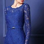 Blue Lace Long Sleeves Short Dress