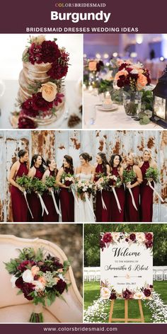 Burgundy bridesmaid dresses long, pretty with wedding cakes, flowers and decorations with burgundy accent color for fall weddings. The post Burgundy Bridesmaid Dresses appeared first on Wedding. Perfect Wedding, Dream Wedding, Burgundy Bridesmaid Dresses Long, Fall Wedding Colors, Fall Wedding Themes, Navy Fall Weddings, Burgundy Wedding Theme, Wine Colored Wedding, Spring Wedding