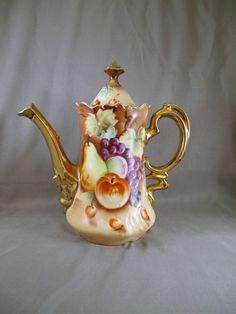 Vintage Lefton China Coffee Pot. Harvest Pattern.