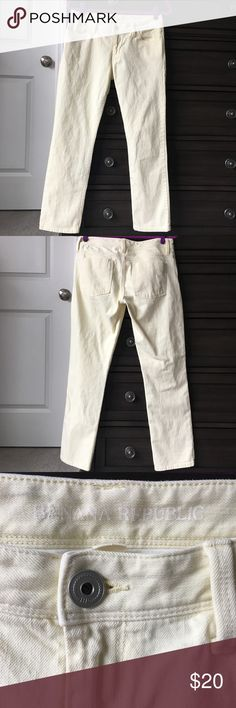 Banana Republic pastel yellow skinny jeans These jeans are a beautiful pastel yellow color, and are in excellent condition. They are a quality denim, and are skinny ankle. It's not a skin tight skinny though. Banana Republic Jeans Skinny