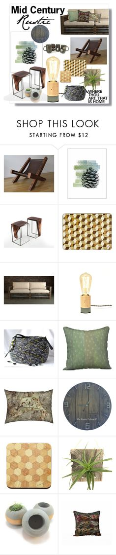 """""""Mid Century Rustic"""" by whimzingers ❤ liked on Polyvore featuring interior, interiors, interior design, home, home decor, interior decorating, modern and rustic"""