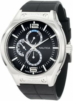 Nautica Men's N19558G NMC 200 Multifunction Black Steel Watch NAUTICA. $105.00. Durable mineral crystal protects watch from scratches. Multifunction movement. Quartz movement. Water-resistant to 330 feet (100 M). Stainless-steel case