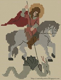 free chart cross stitch St. George and the dragon
