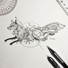 Image result for geometric dragon tattoo