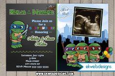 Custom Age Mutant Ninja Turtles Baby Shower Invitations Turtle Birthday