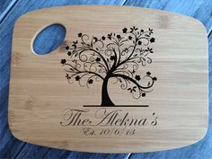 Personalized Cutting Board engraved cutting board Wedding Gift Anniversary Tree