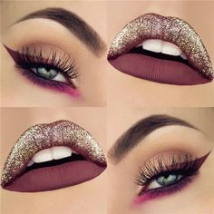 10 exclusive eyeshadow and lip make-up designs in 2019 - Makeup for Best Skins! Matte Eyeshadow, Colorful Eyeshadow, Eyeshadow Looks, Eyeshadow Makeup, Prom Eye Makeup, Lip Makeup, Makeup Shop, Beauty Makeup, Glitter Lips