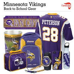 Minnesota Vikings Fans - Pin It to Win It All! You can win a complete back to school NFL prize pack worth over 300 dollars! To enter, pin your favorite NFL Team's Back to School image to win every item in the collage! #FansEdge –Visit http://www.fansedge.com/promotions.aspx?social=pinterest_nfl_pintowin to enter