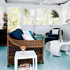 Painted floor, blue.