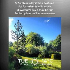 No rain in Pitlochry on St.Swithin's Day 2014!