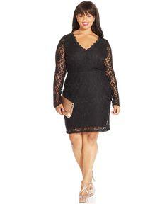 Trixxi Plus Size Long-Sleeve Lace Dress - Trendy Plus Sizes - Plus Sizes - Macy's