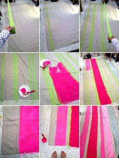 Striped Tablecoth DIY. Thinking of a Hudson's Bay copycat as a camping tablecloth. | Oh Happy Day!