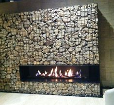 Modern gabion basket fireplace.