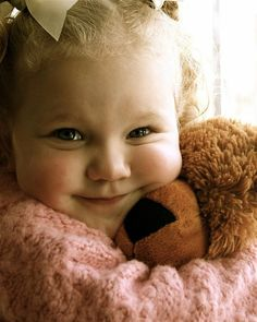 Kids' Photos: Little Girl Hugs Teddy - so sweet and cute! Children grow up so quickly, don't they? ;) Mo