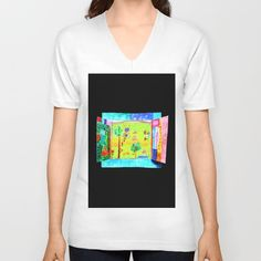 Window with view, hand made painting, by Elisavet years old Buy Windows, How To Make Paint, Window View, 5 Years, V Neck T Shirt, Unisex, Handmade, Stuff To Buy, Painting