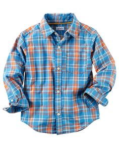 Toddler Boy Poplin Plaid Button-Front Shirt from Carters.com. Shop clothing & accessories from a trusted name in kids, toddlers, and baby clothes.