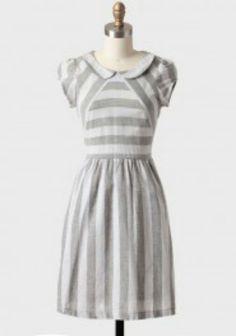 White & grey striped dress