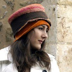felt and cotton hat nuno felting handmade in franc by jannio, $85.00