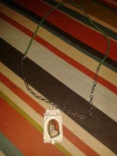 Diy collar con cadena,cordon de seda y colgante.