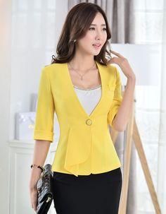 New Formal Blazers Elegant Yellow 2015 Summer Female Work Wear Blazer Feminino Office Jackets Outwear Coat Tops Women Blaser