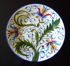 Antique hand painted Hungarian ceramic plate Hollohaza, early 20th century