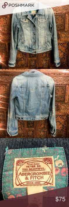 Abercrombie & Fitch Distressed Denim Jacket This Classic Distressed Denim Jacket by Abercrombie & Fitch is a must have wardrobe staple. Cute pockets, distressed arms, and seaming detail. Made of 100% Cotton. Size Large. Abercrombie & Fitch Jackets & Coats Jean Jackets