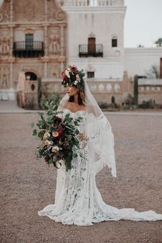 This styled shoot features bohemian inspiration at San Xavier Mission, a historic chapel in the Arizona desert with editorial gowns and bridal hats Wedding Bride, Boho Wedding, Wedding Gowns, Dream Wedding, Wedding Day, Wedding Tips, Latin Wedding, Wedding Ceremony, Crystal Wedding