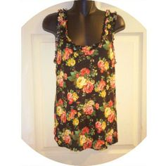 New Listing  Rose Floral Ruffle Tank Great condition. 11-21-15 h.i.p. Tops Tank Tops