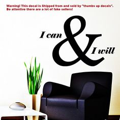 Teamwork Wall Decals Quote I Can and I Will Decal Vinyl Sticker Home Decor Mural Office Motivation Window Decals Bedroom Interior Living Room Art Murals zz315 *** For more information, visit image link. (Note:Amazon affiliate link)