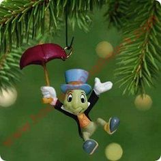 2001 Disney - Jiminy Cricket Hallmark Miniature Ornament, Slightly Damaged Box - In Stock! - The Ornament Shop. Tabletop Christmas Tree, Hallmark Christmas Ornaments, Disney Ornaments, Hallmark Keepsake Ornaments, Christmas Decorations, Christmas Ideas, Xmas, Jiminy Cricket, Disney Trips