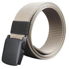 SUPPION Hypoallergenic Metal Automatic Buckle Belt Women Mens Canvas Belt