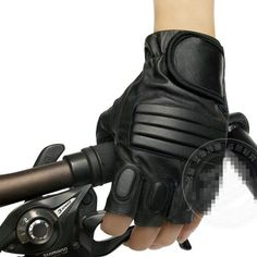 Military Protective Gear Mens Women Black Real Leather Fingerless Driving Gloves | eBay