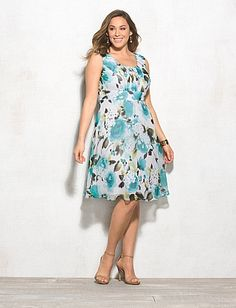 Dress Barn- Rose Chiffon Dress (also available in pink ) http://www.dressbarn.com/detail/plus-size-ruched-floral-dress/102132113/305