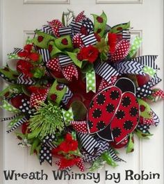 Deco Mesh Ladybug Spring/Summer Red, Black & Lime Green Wreath, Front Door Wreath, Ladybug Decor, Mother's Day, Modern Wreath, Whimsical by WreathWhimsybyRobin on Etsy by kerri_posts