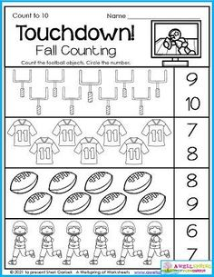 Fall football worksheets. Kindergarten math. Kids can get a lot of counting practice with my 30 fall-themed November Counting Worksheets. They'll enjoy color by number, number tracing, graphing, and more. Please head on over and check it out!
